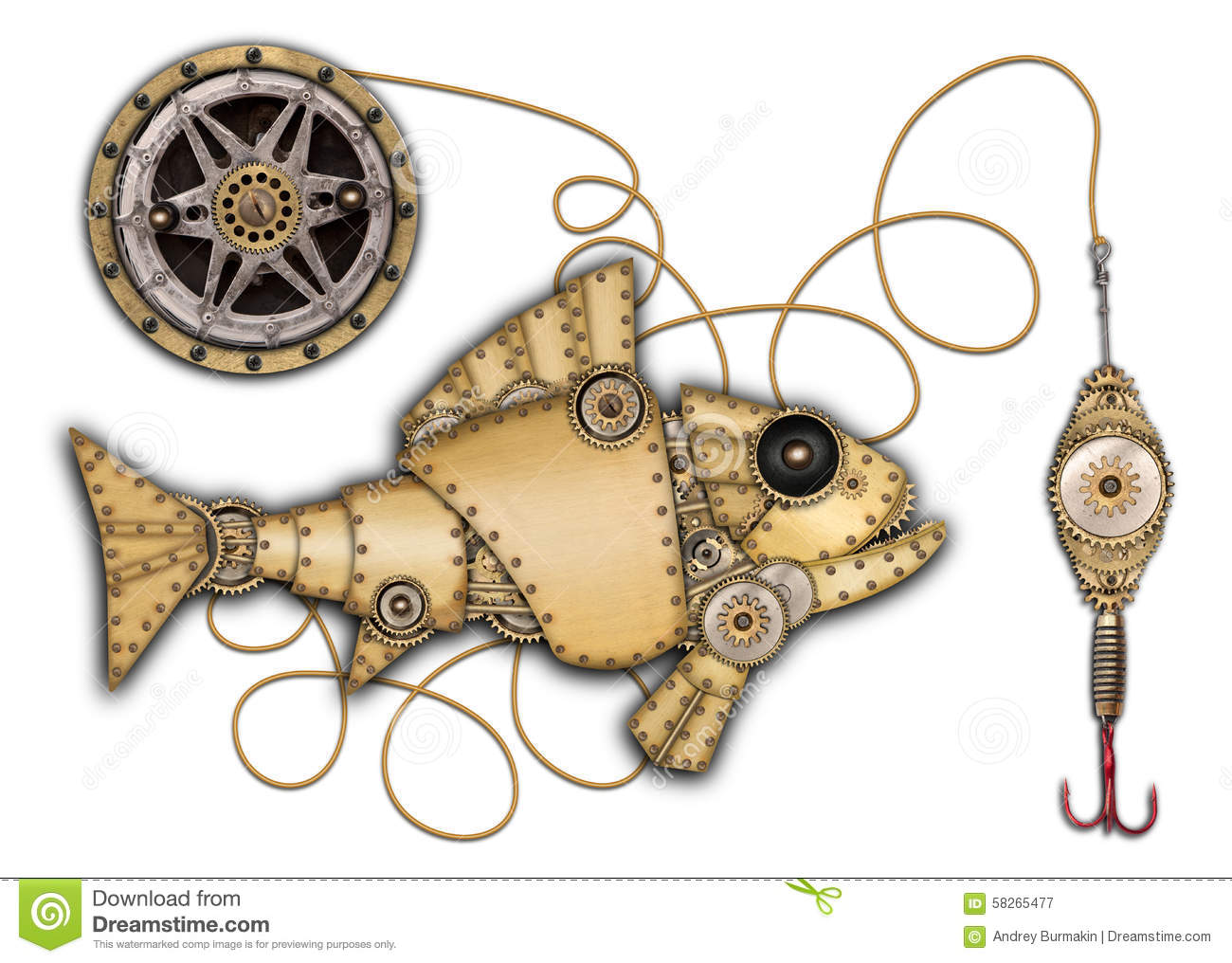 Industrial Mechanical Fish Isolated Stock Photo Image