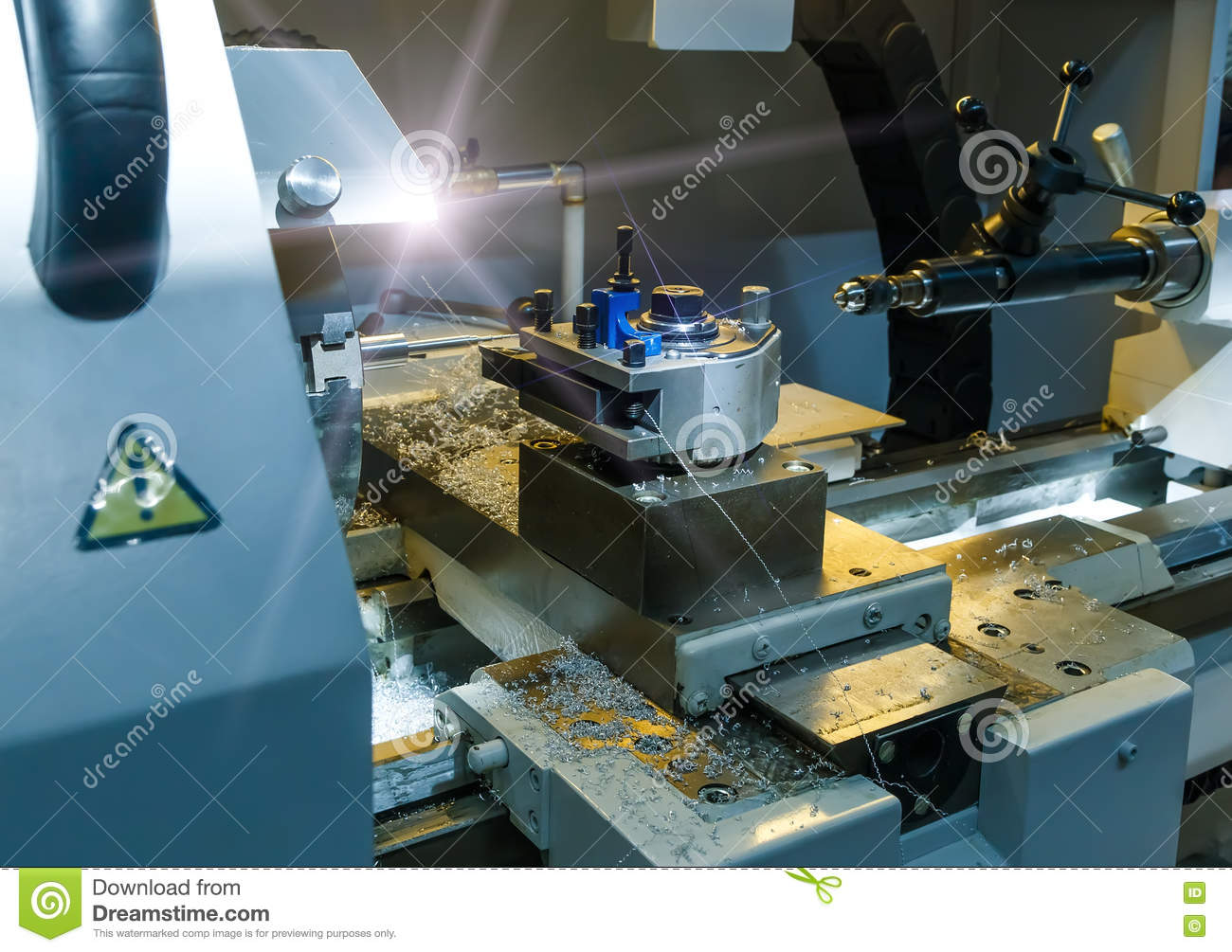 Industrial metal mold blank milling. Metalworking. Lathe, and drilling industry. CNC technology.