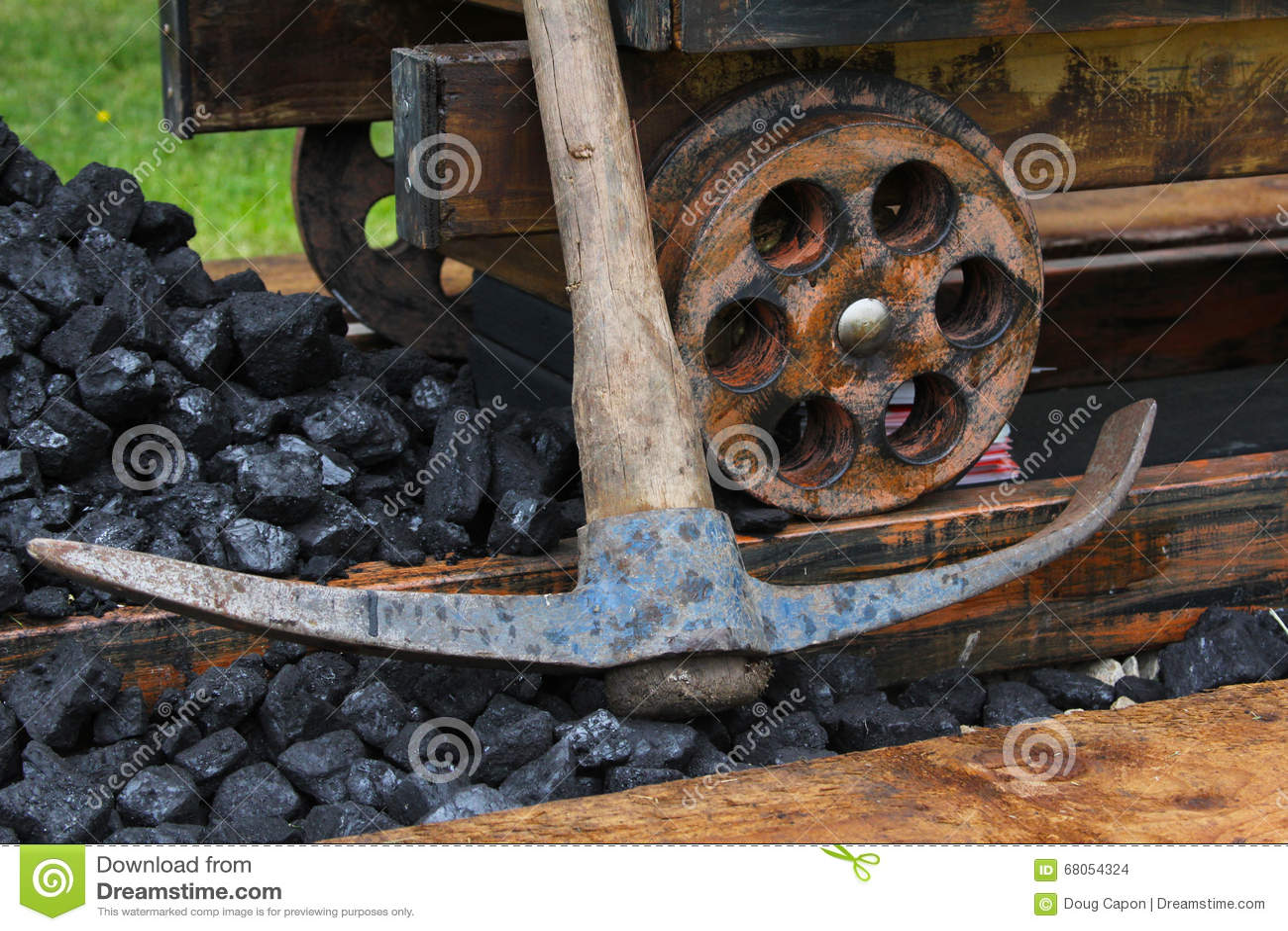 Industrial mine cart scene stock photo image