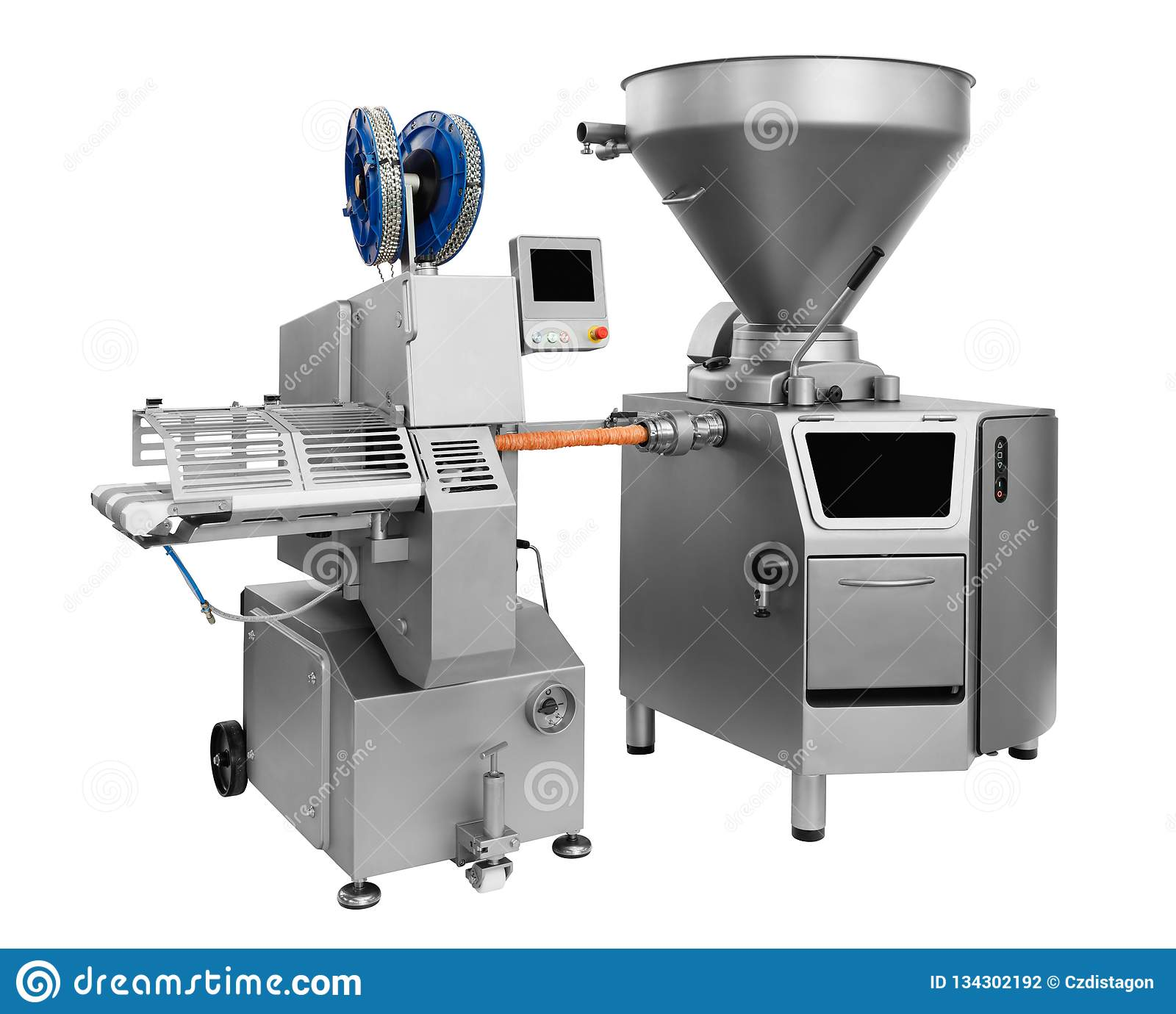 Industrial mixer in food industry, production line in food factory line conveyor machine solated on white background