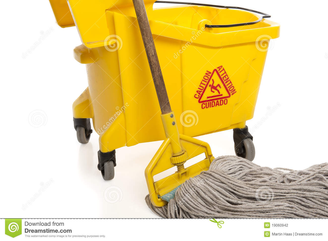 Industrial Mop And Bucket Close up Stock graphy Image