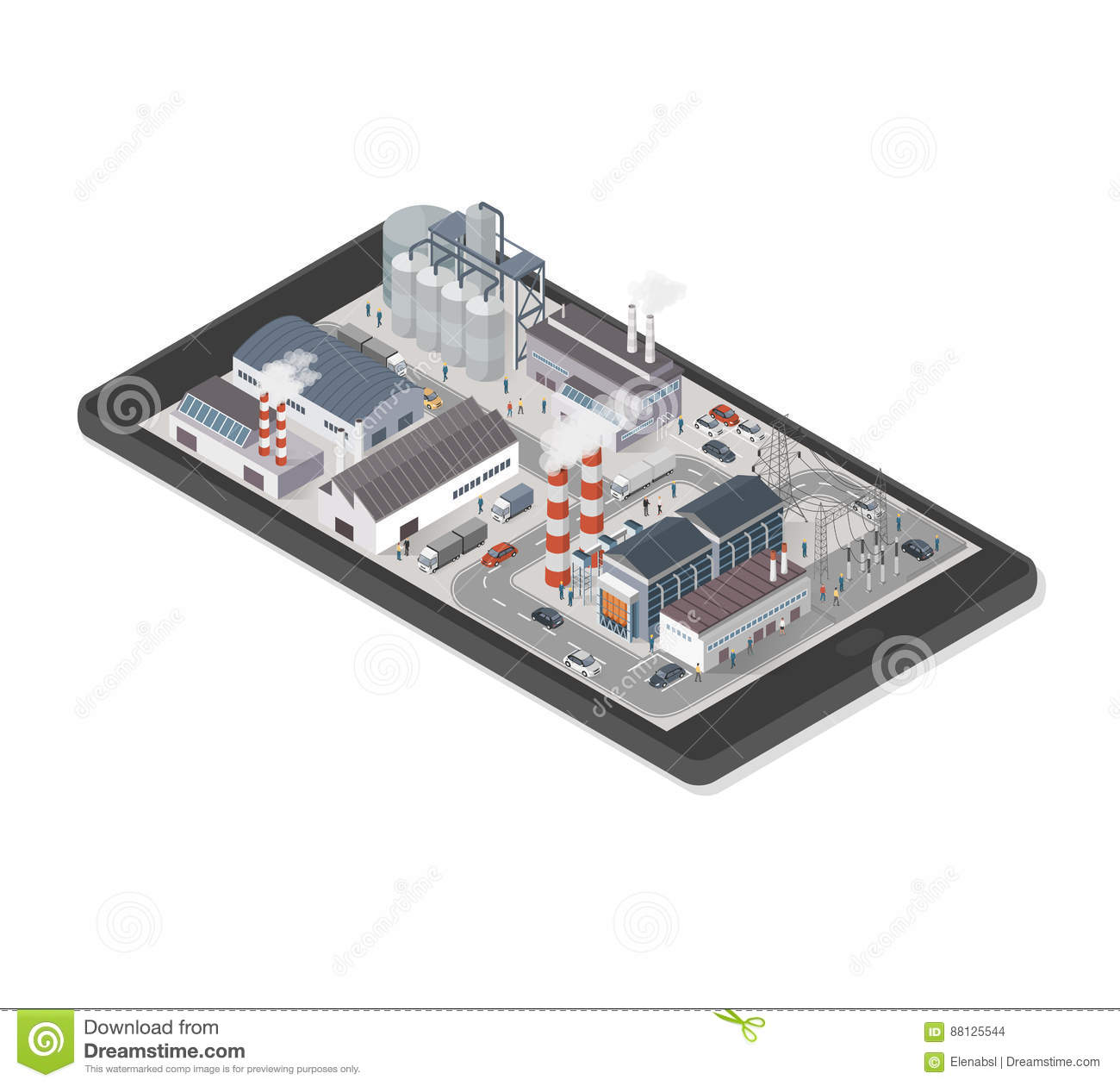 Industrial park on a smartphone
