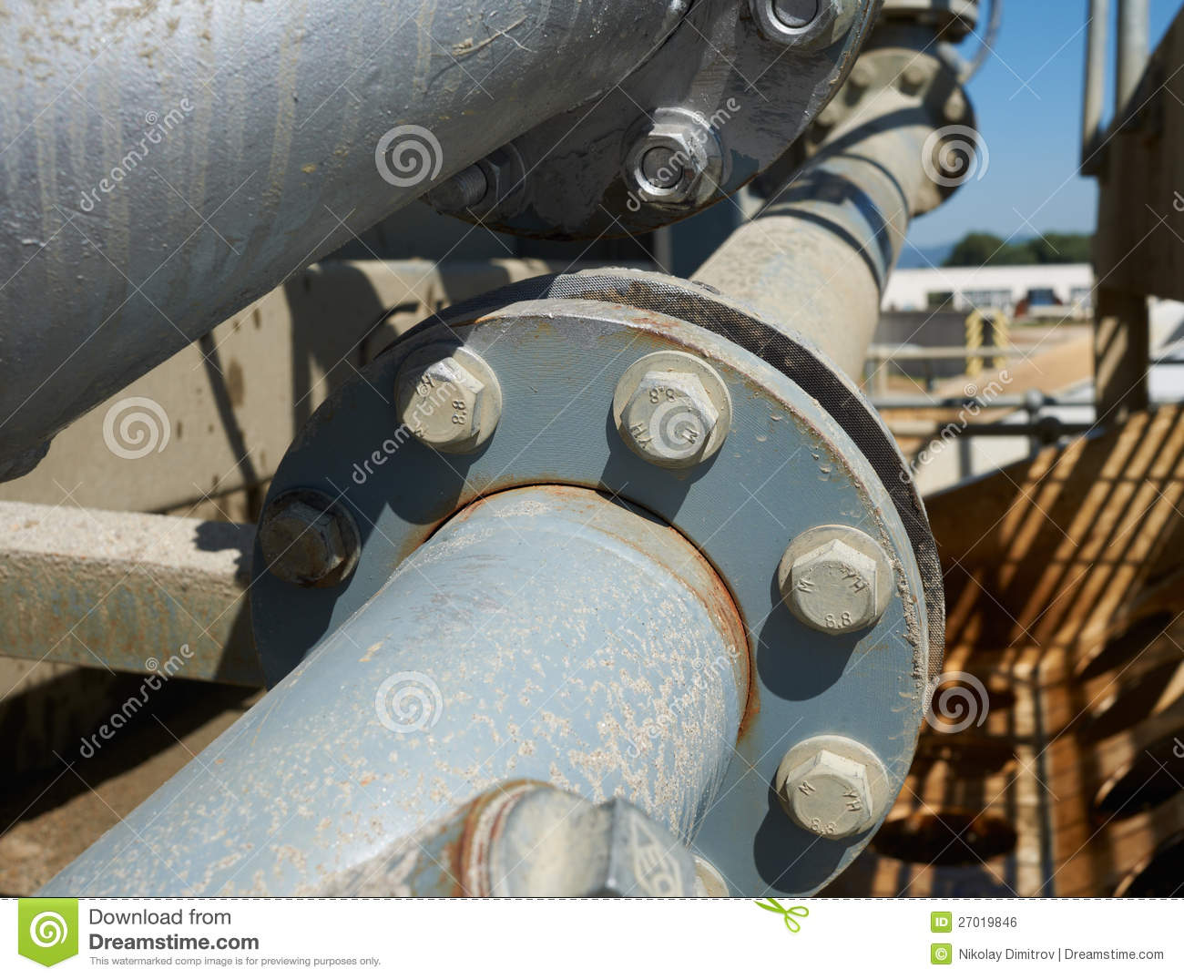Industrial pipe connection with flange stock photo image