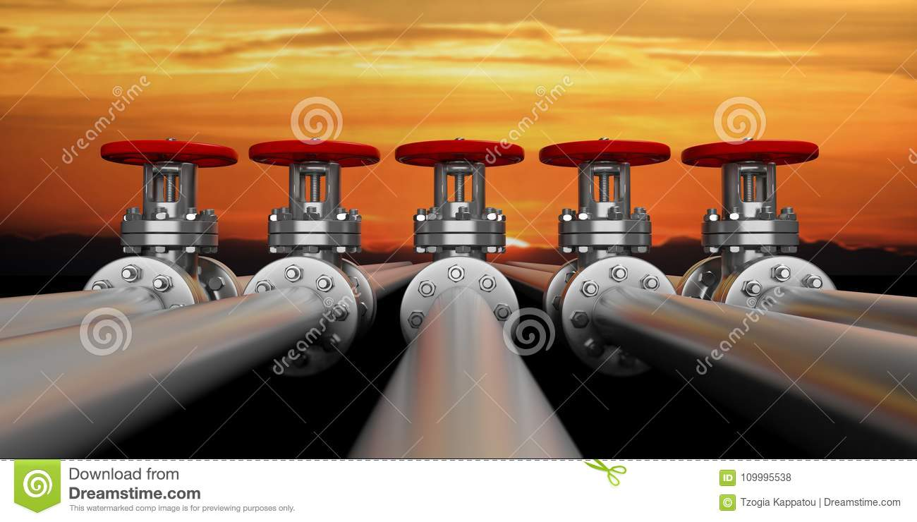 Industrial pipelines and valves on sky at sunset background, banner. 3d illustration