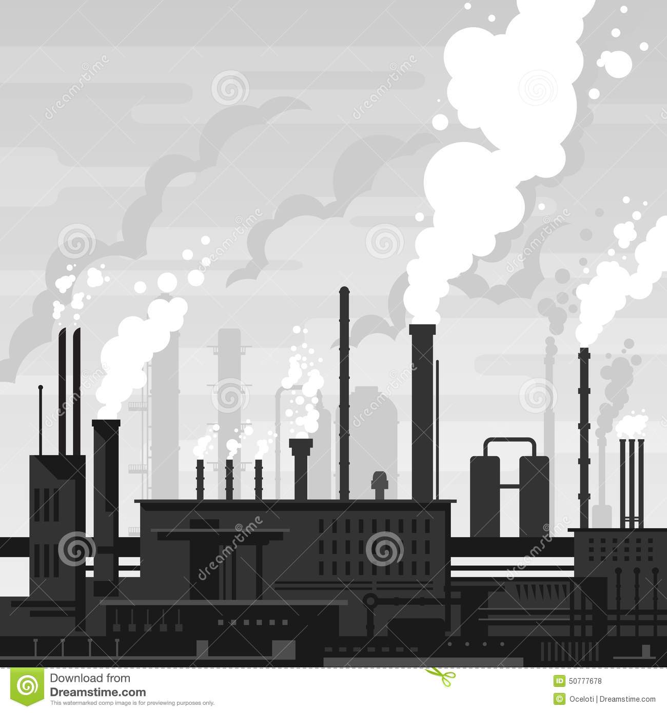 Industrial plant landscape flat style, factory buildings silhouette in ...