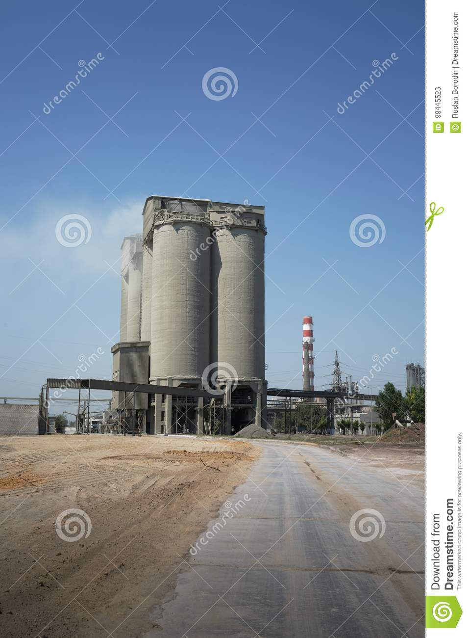 Download Industrial Plant On A Sky Background. A Huge Building And A Smokestack Of A Dairy Factory. Ecology Concept. Copy Space. Stock Image - Image of cheese, industrial: 99445523