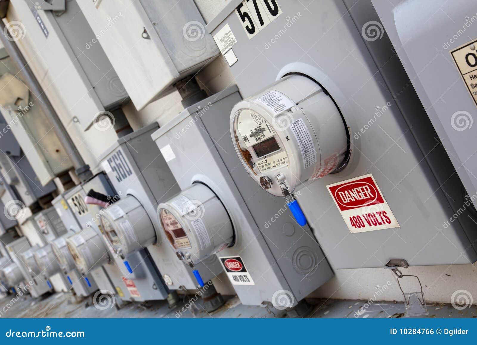 Industrial Energy Meters : Industrial power meters royalty free stock image