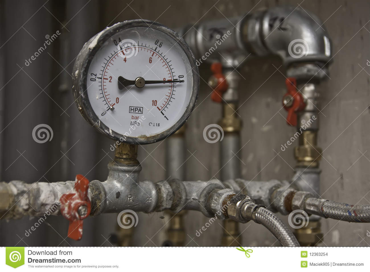 Industrial pressure meter and water pipes