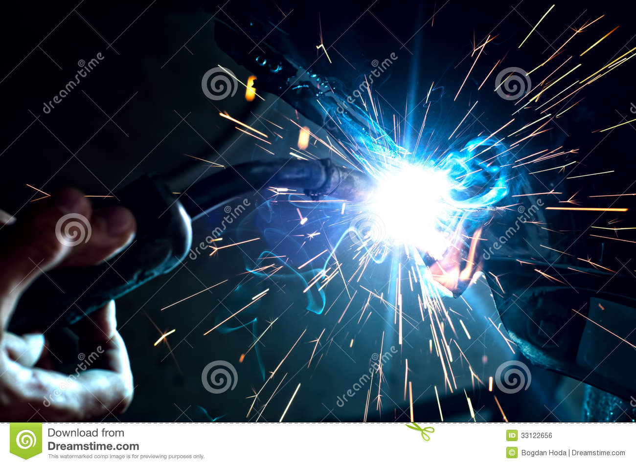 Industrial Professional Worker Welding Metal Stock Photo
