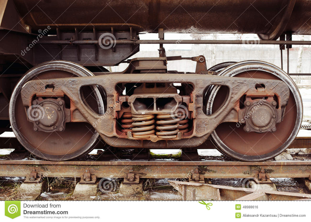 Industrial Rail Car Wheels Stock Photo Image 48988616