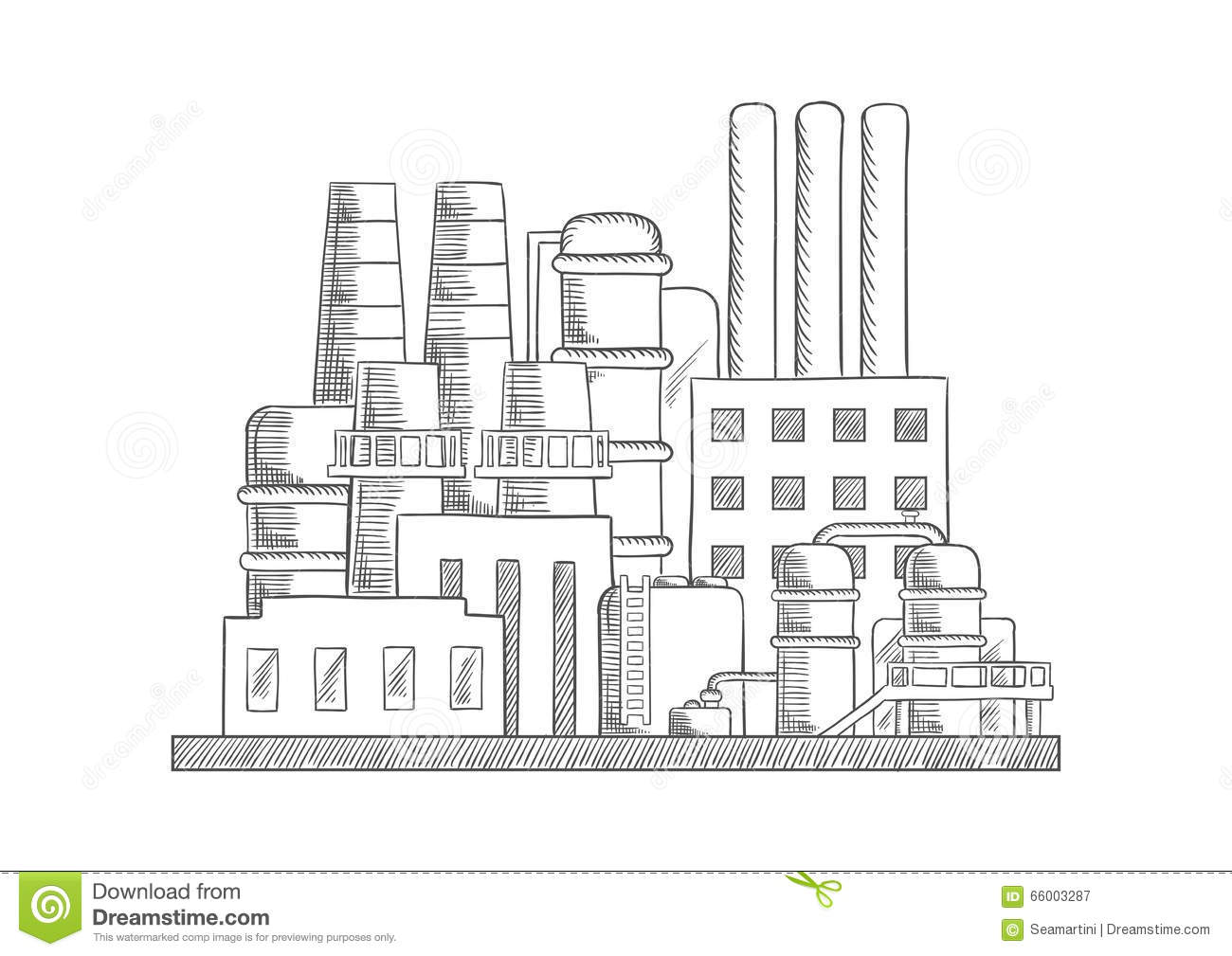 industrial refinery factory vector sketch stock vector