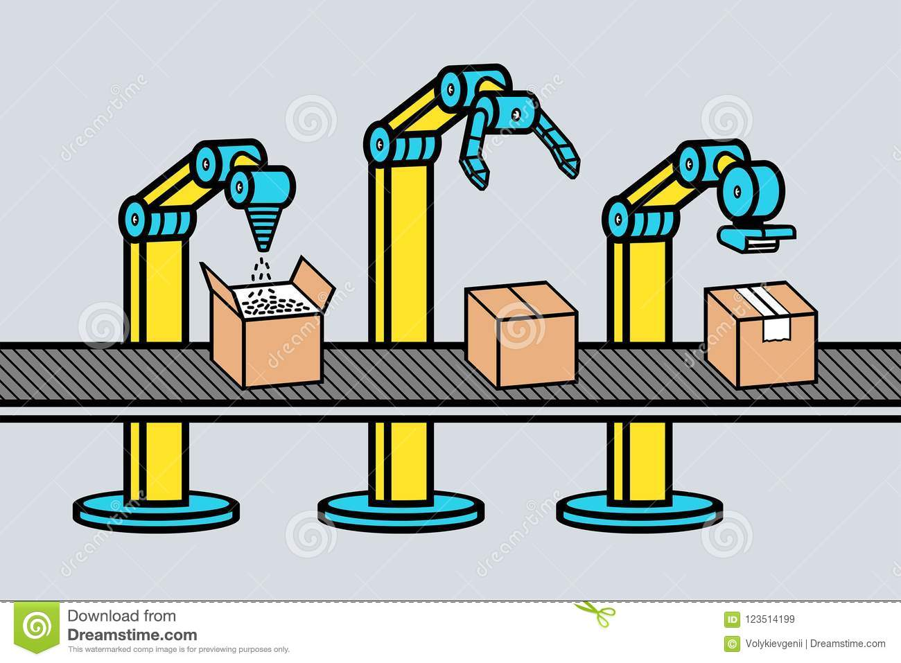 Industrial robot arm stock vector  Illustration of build