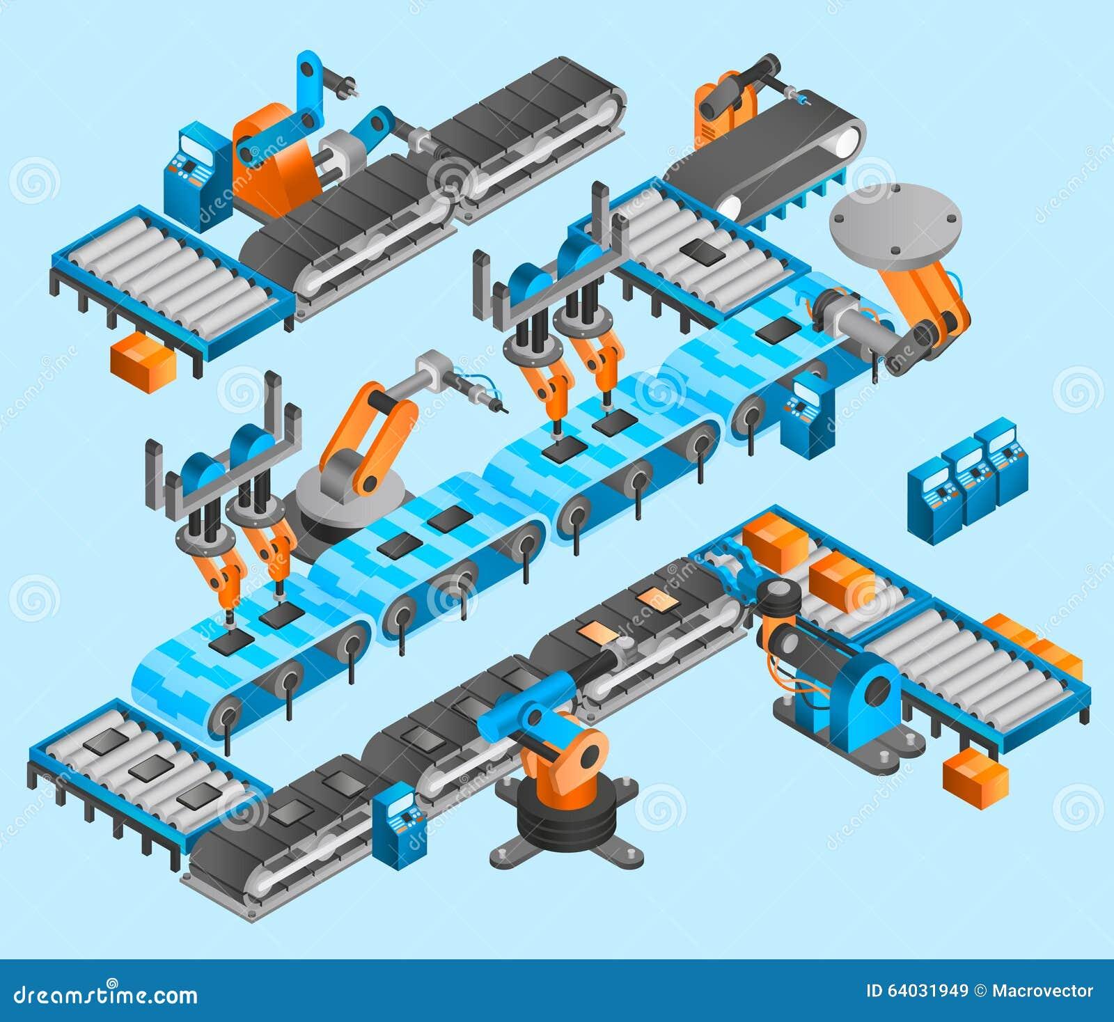 Industrial Robot Isometric Concept Stock Vector