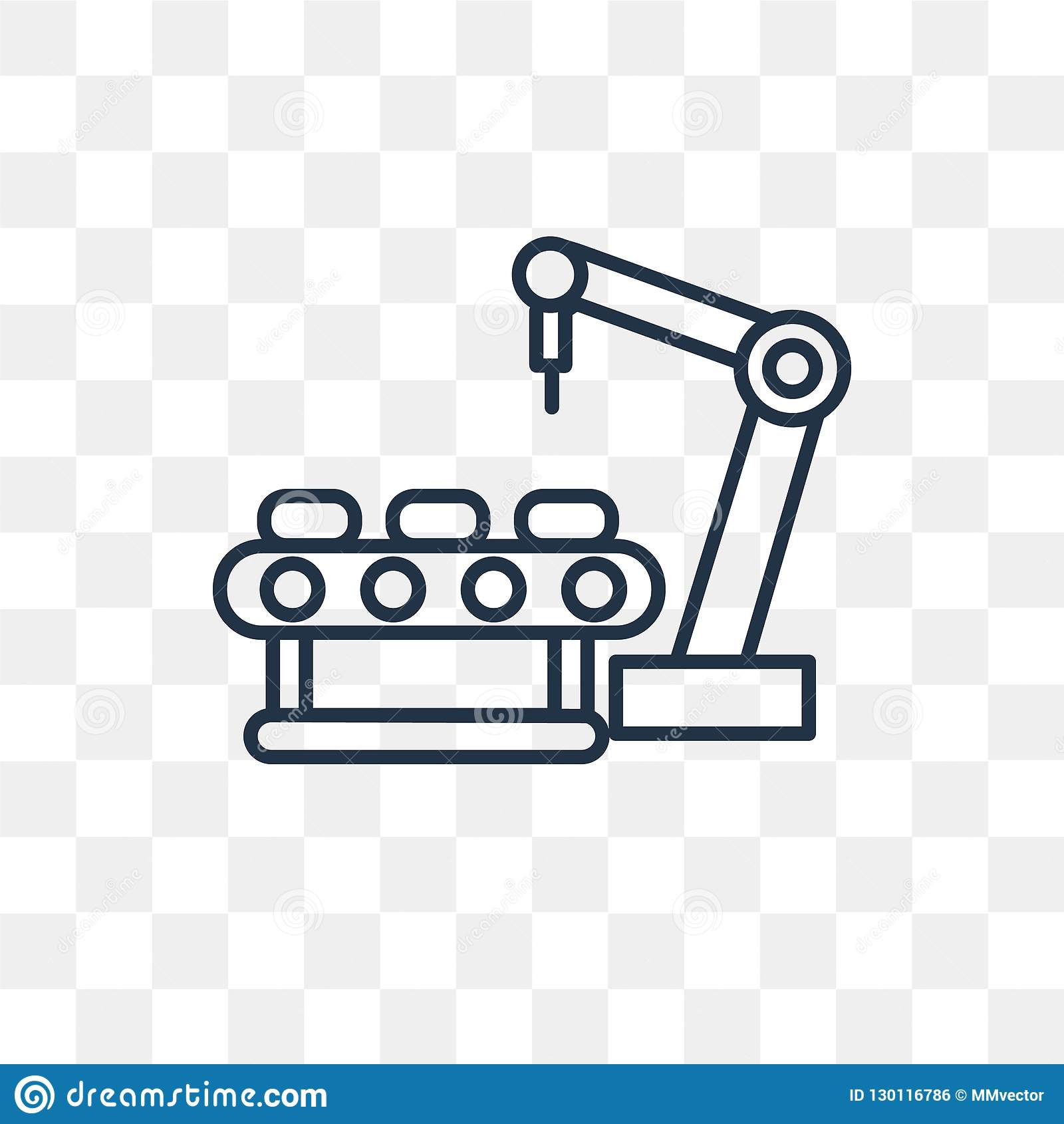 Industrial Robot Vector Icon Isolated On Transparent