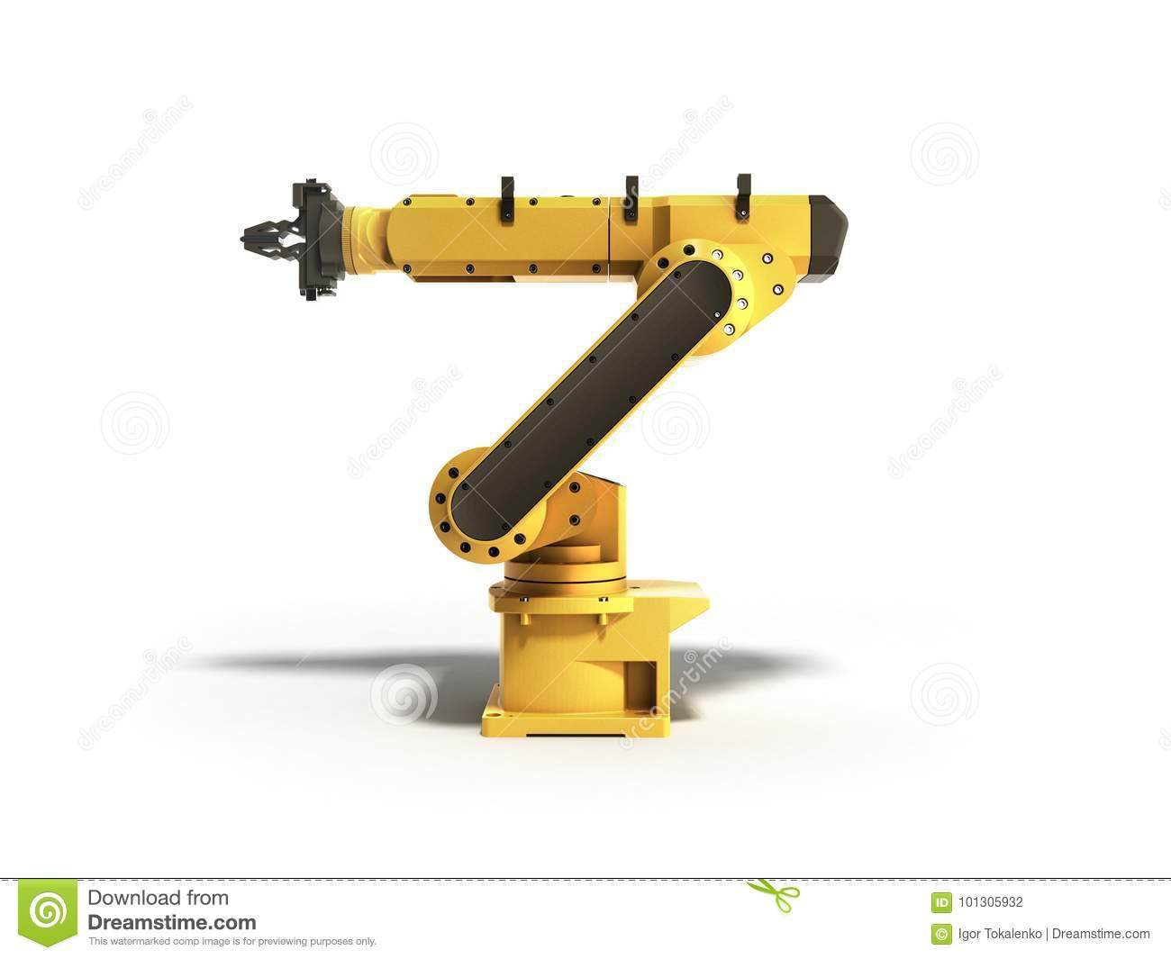 Industrial robot on white background 3D rendering