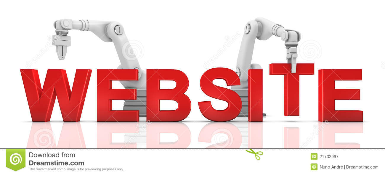 Industrial Robotic Arms Building Website Word Stock Illustration