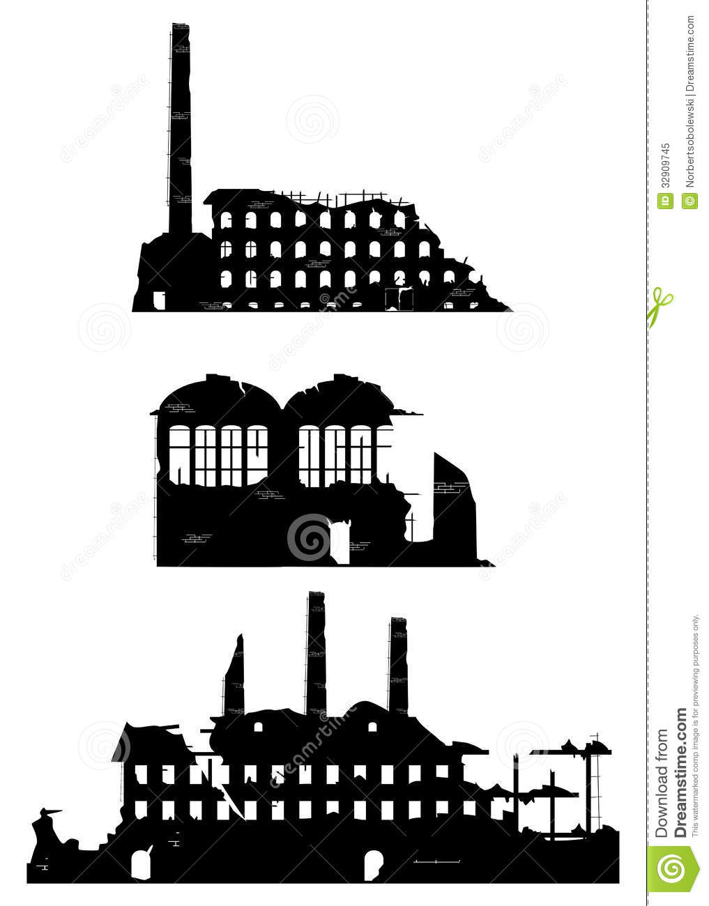 Industrial Ruins On A White Background Stock Vector