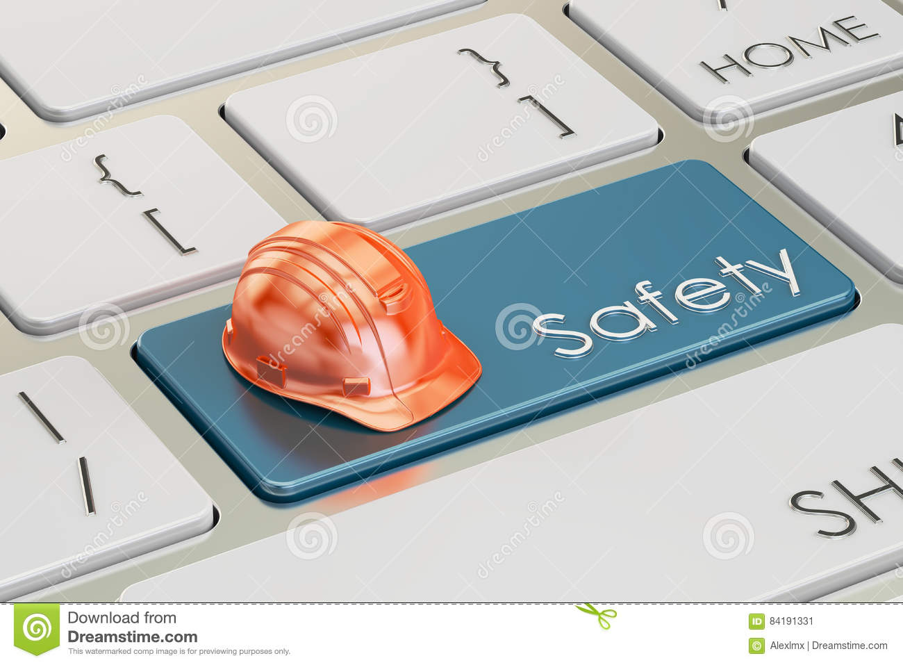 Industrial safety concept on keyboard button, 3D rendering
