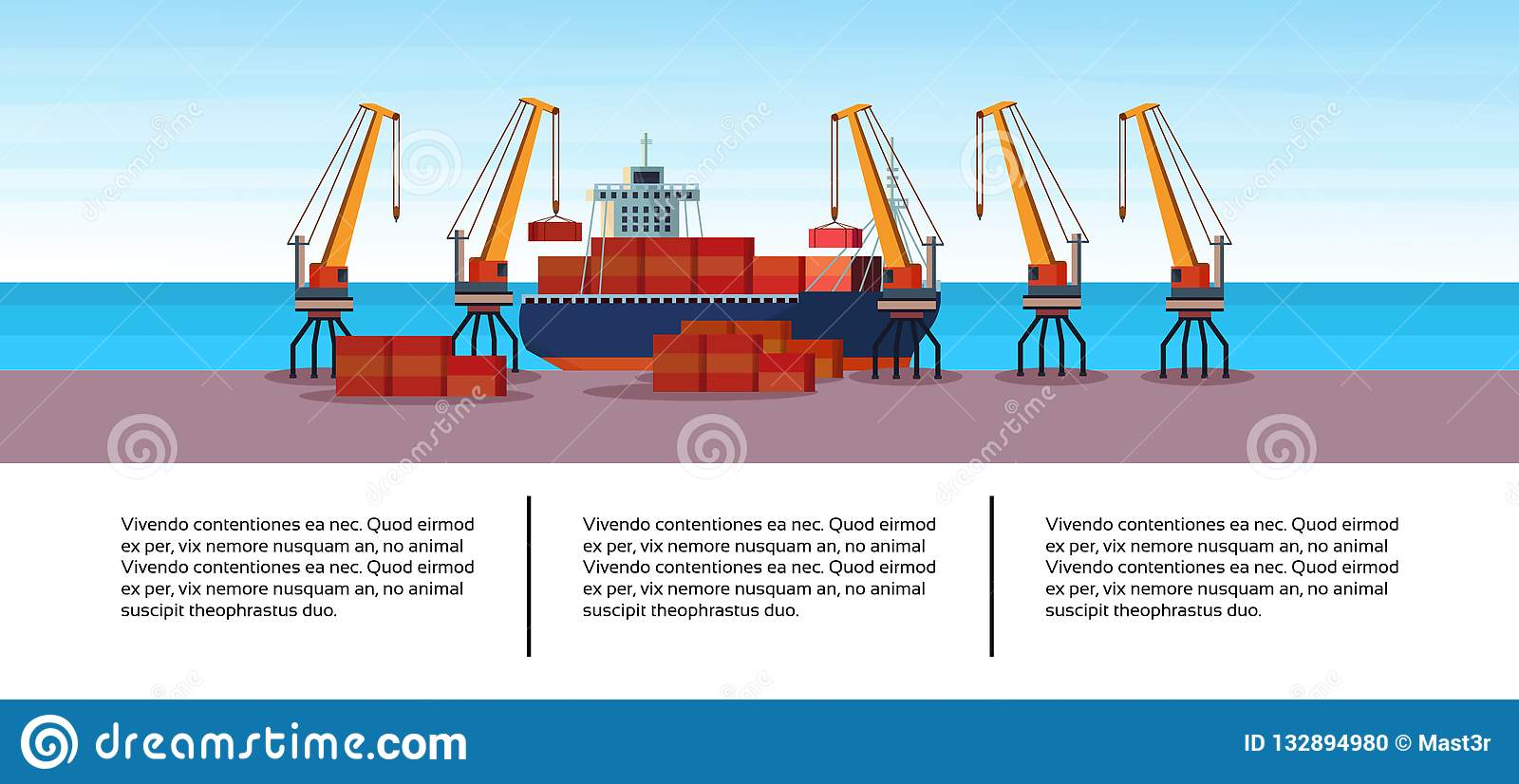 Industrial sea port freight ship cargo crane business infographic template container loading water delivery concept