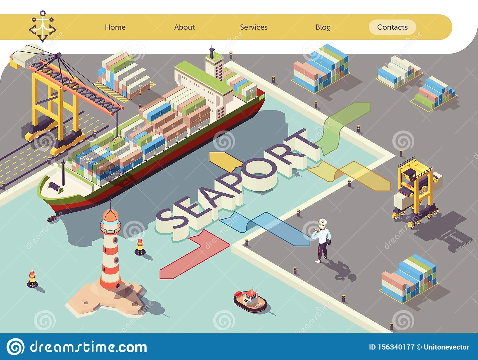Industrial Seaport Flowchart Isometric Banner