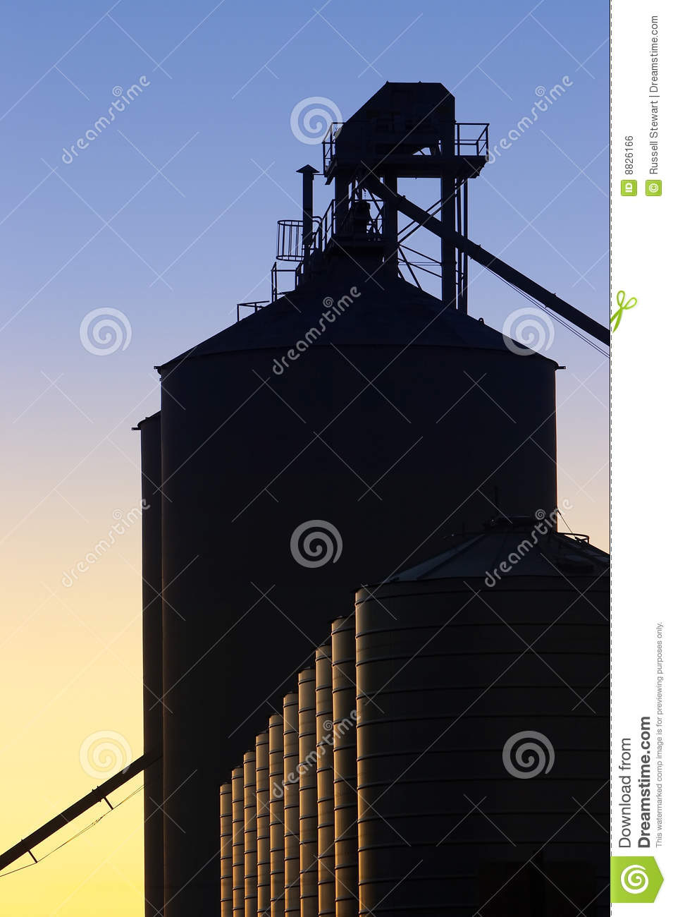 Industrial Silos at Sunset