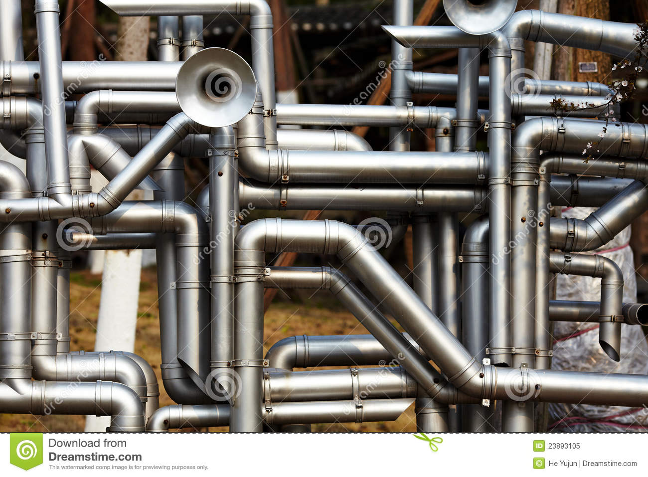 Industrial Steel Pipes : Industrial stainless steel pipe work stock image