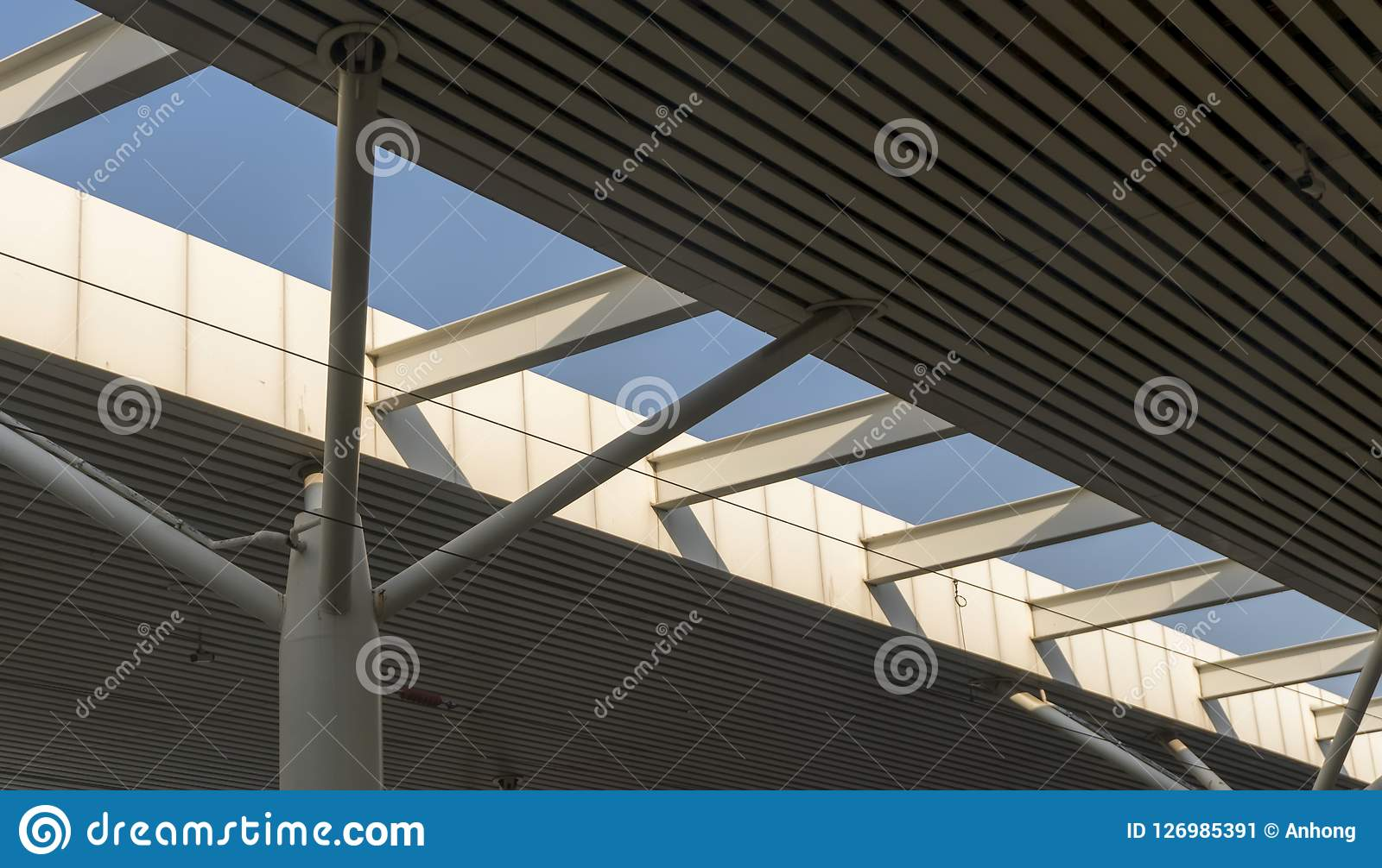 Ceiling Of A Industrial Production Building Stock Image Image
