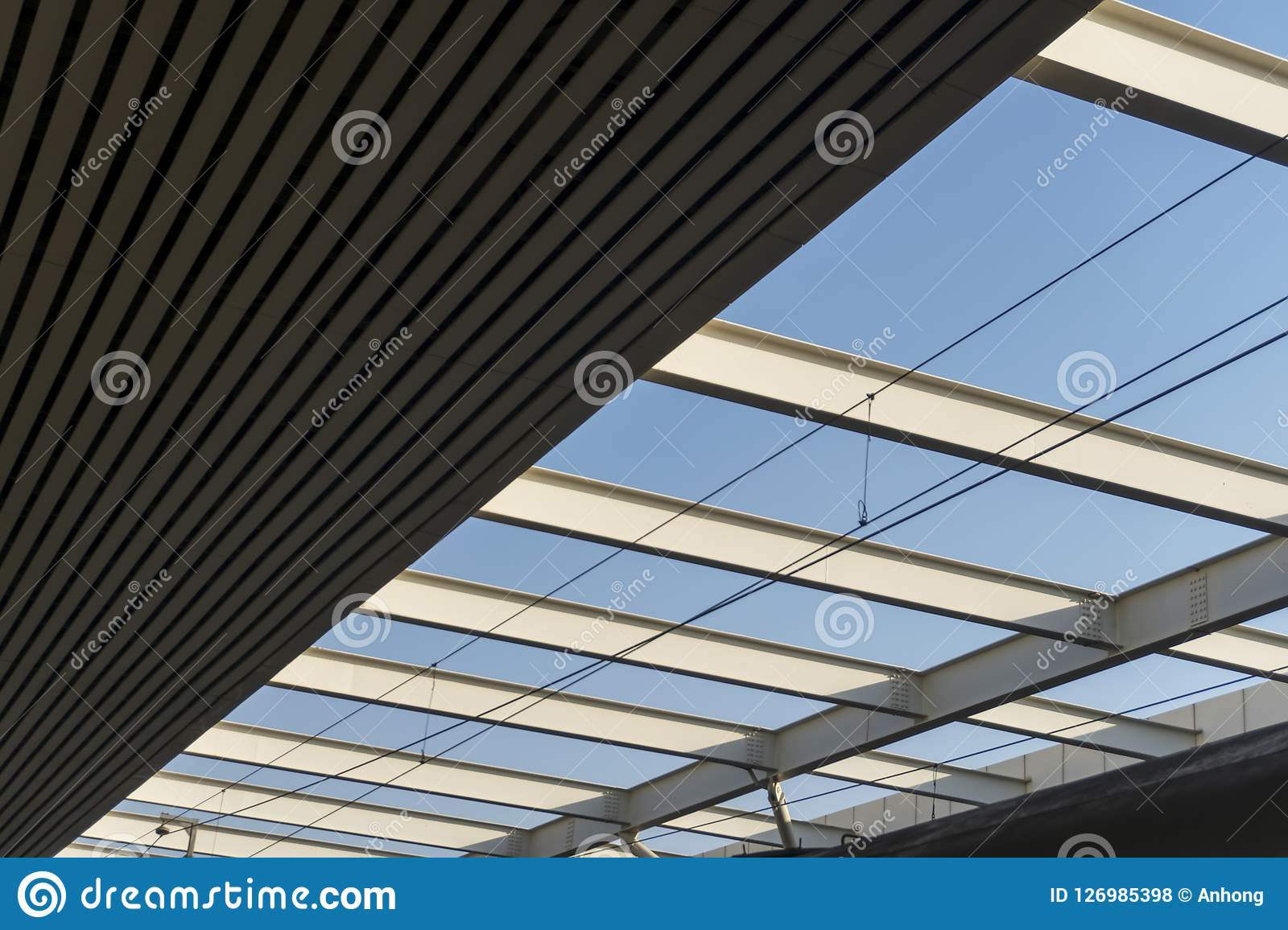 Ceiling Of A Industrial Production Building Stock Photo Image