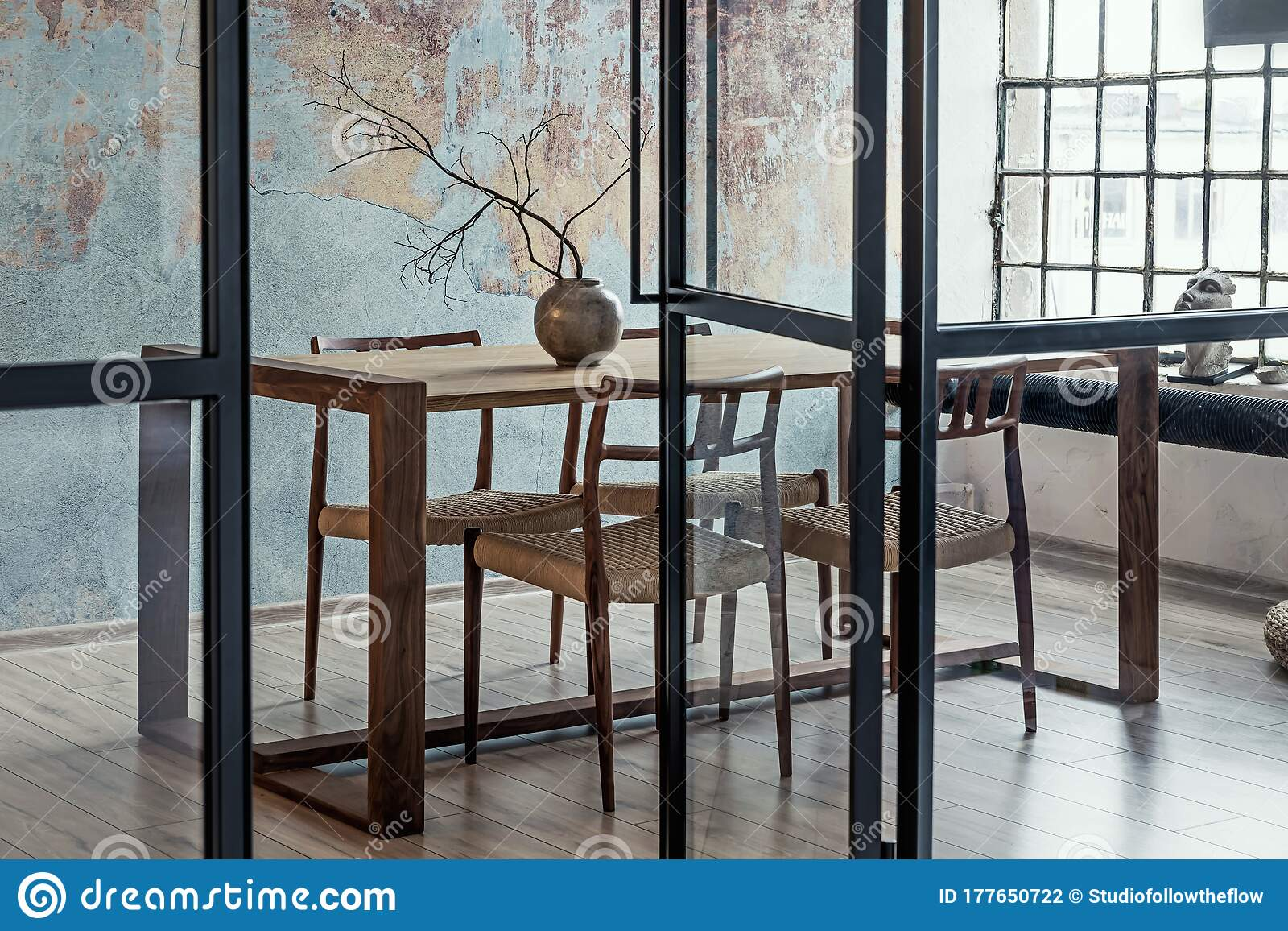 Industrial Style Apartment With Impressive Wooden Oak Family Table Stock Photo Image Of Design Cozy 177650722