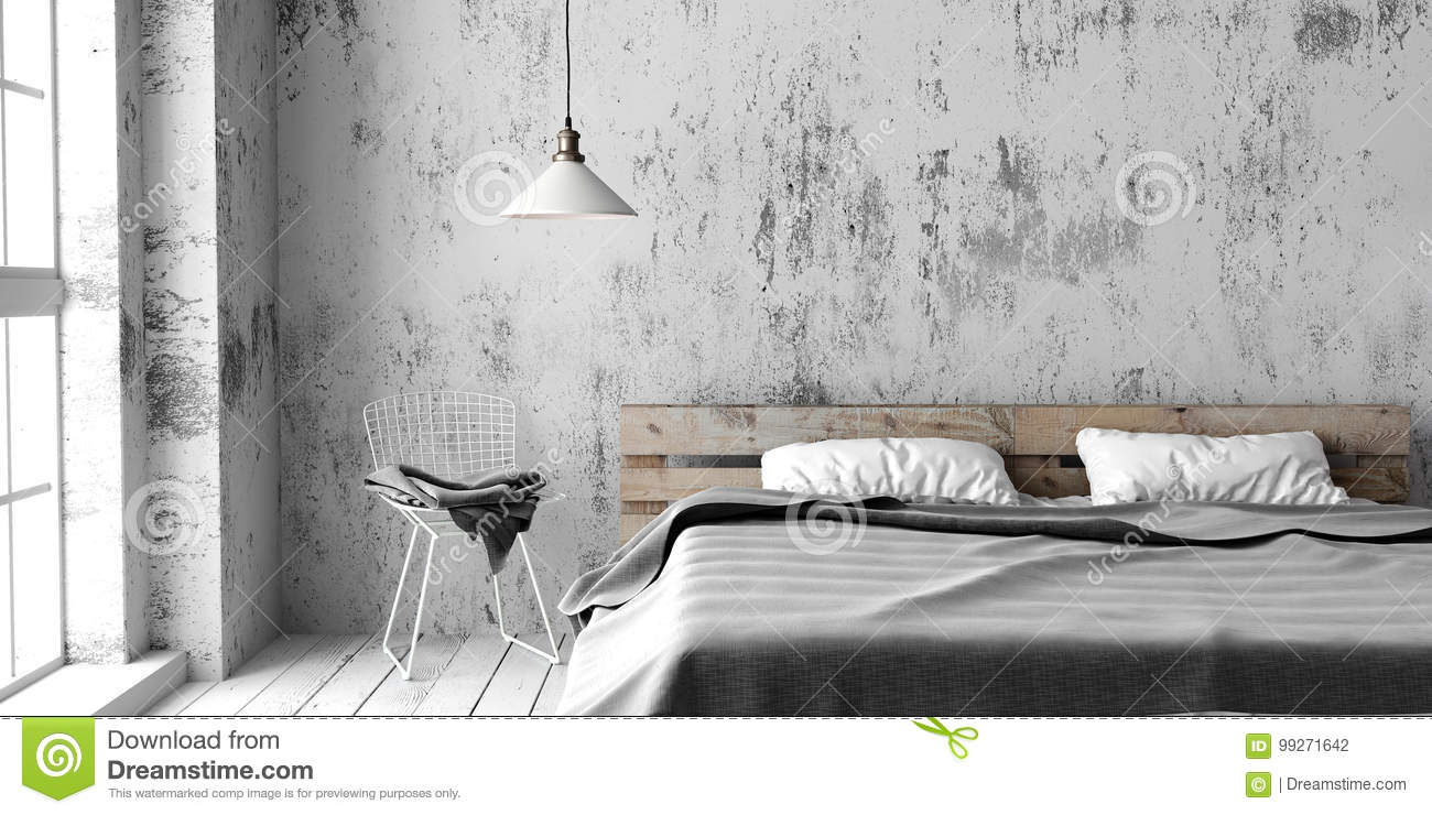 A Industrial Style Bedroom With Recycled Pallet Bed 3d Render Stock Illustration Illustration Of Interior Concept 99271642