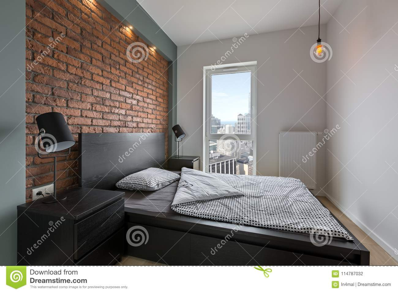 Download Industrial Style Bedroom With Bed Stock Photo   Image Of  Contemporary, Indoor: 114787032