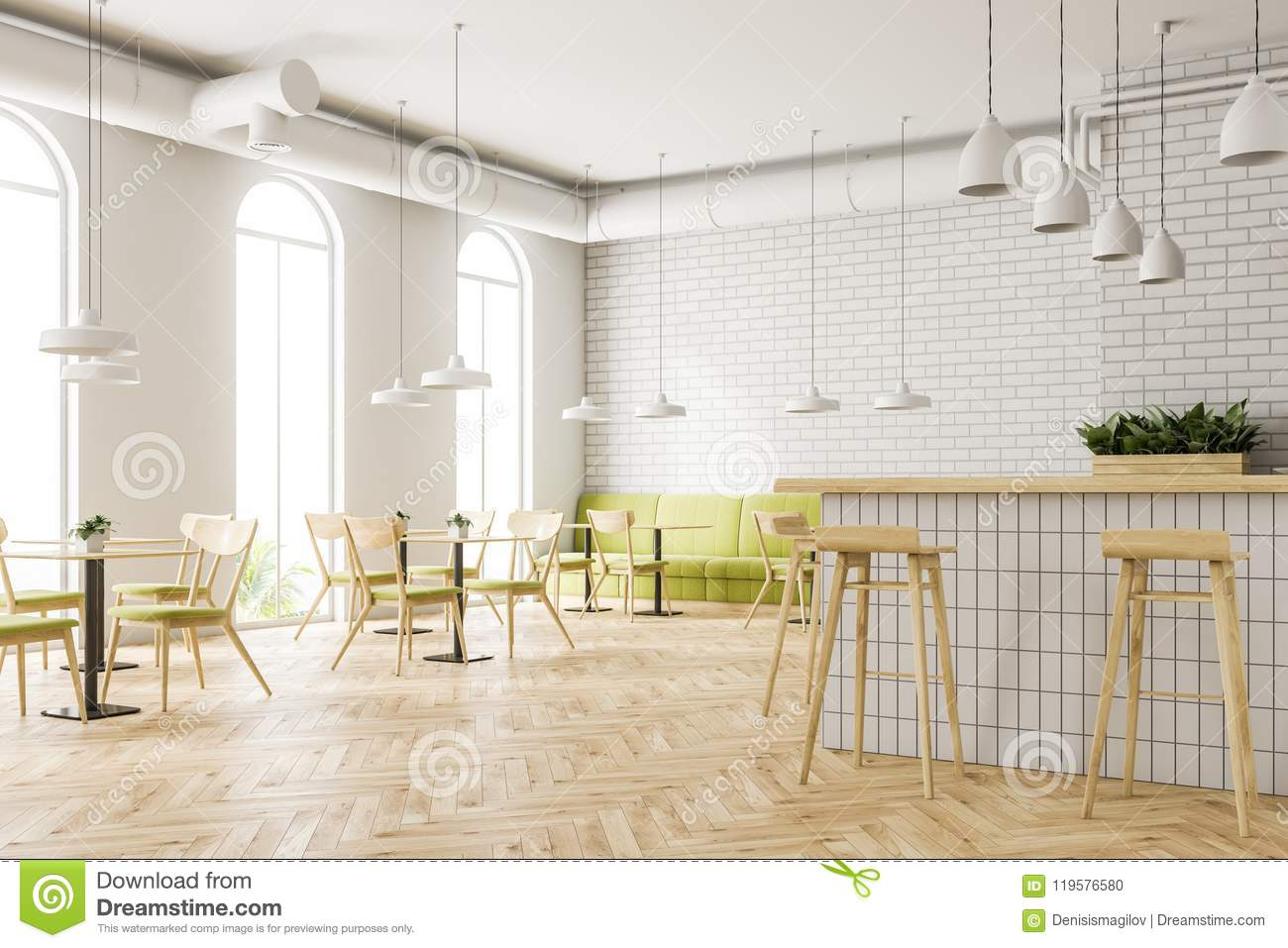Industrial Style Cafe Corner Flower Beds Bar Stock Photo Image Of Indoor Geometric 119576580