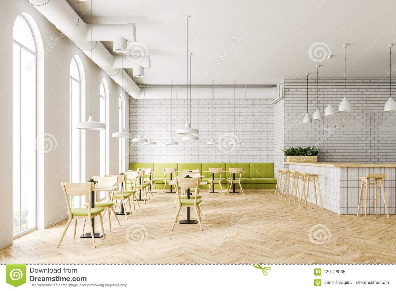 Industrial Style Cafe Interior Flower Beds Stock Illustration Illustration Of Lamp Glass 120128065