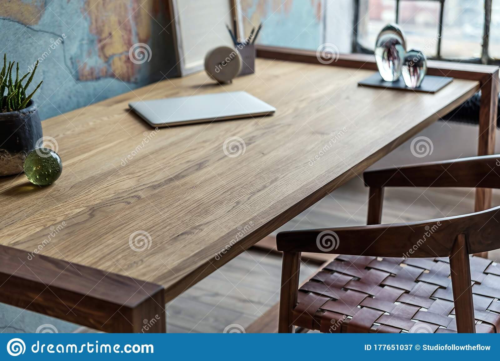 Industrial Style Home Office With Impressive Wooden Oak Desk Stock Image Image Of Accessories Lamp 177651037