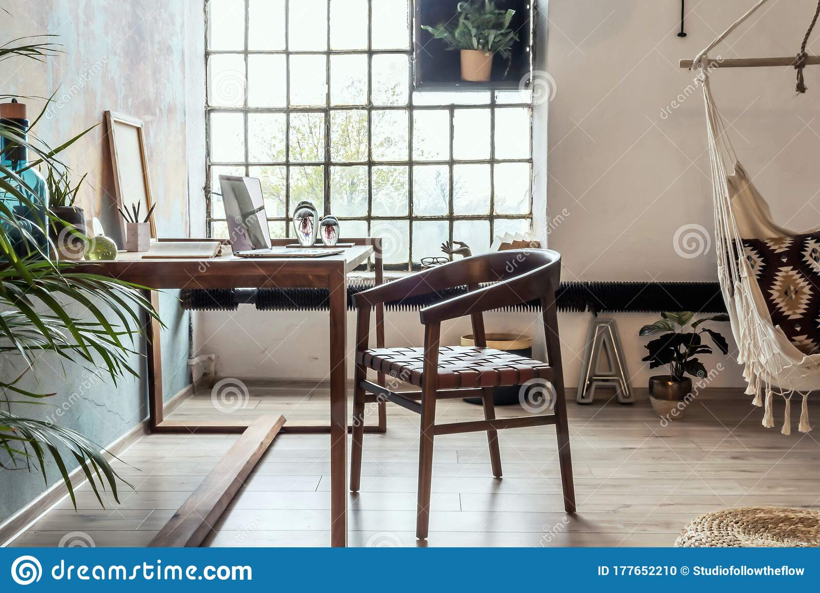 Industrial Style Home Office With Impressive Wooden Oak Desk Stock Photo Image Of Interior Apartment 177652210,What A Beautiful Name Guitar Chords Capo 2