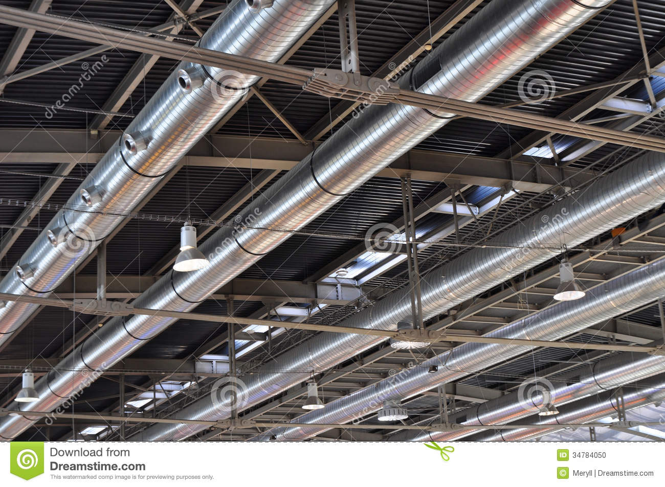 Industrial Ventilation Ductwork : Industrial tube air conditioning background stock photo