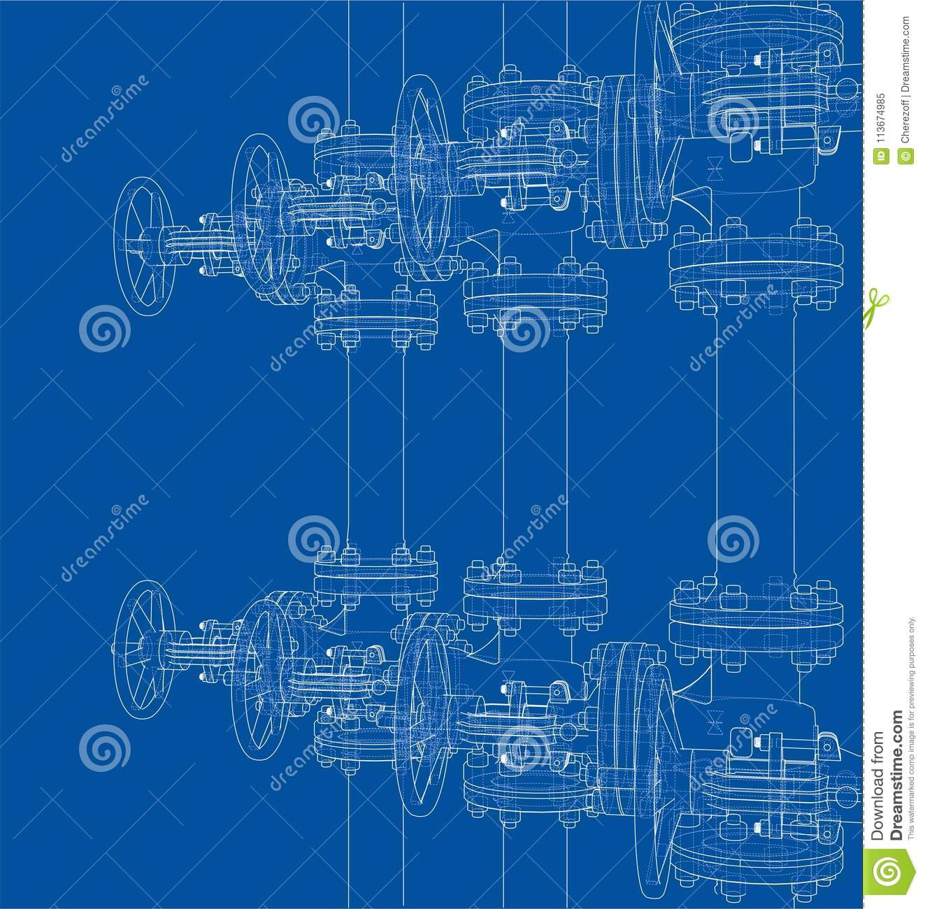 Industrial Valves Sketch 3d Illustration Stock Faucet Valve Diagram Free Download Wiring Schematic Of Piping Outline