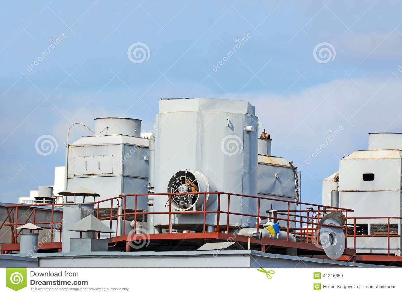 Industrial air conditioning and ventilation systems on a roof. #326699