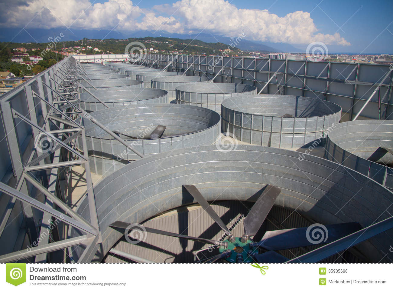 Industrial Building Ventiltors : Industrial ventilation system roof of the plant royalty