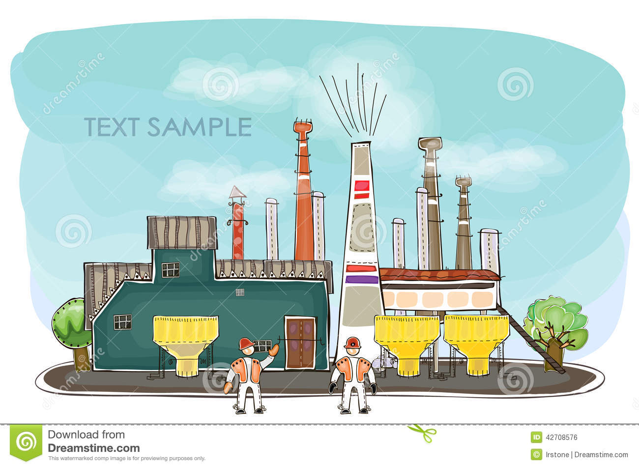 Industrial View Illustration Factory Royalty Free Cartoon
