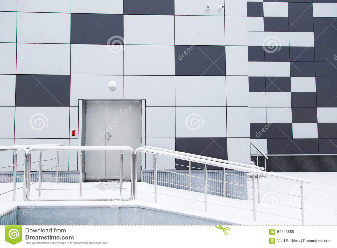 Industrial Warehouse Modern Facade With Door And Steps
