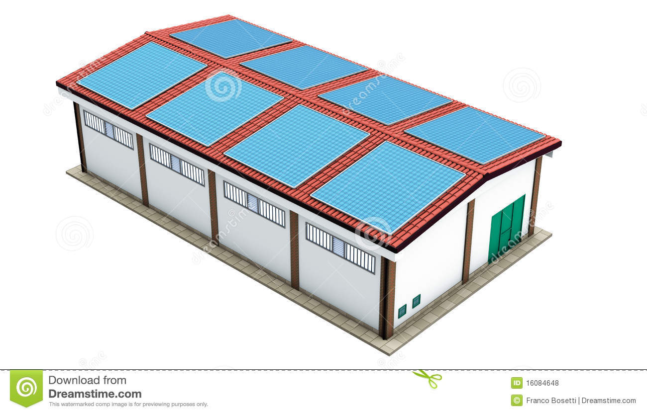 ... illustration, industrial warehouse solar panels on a white background