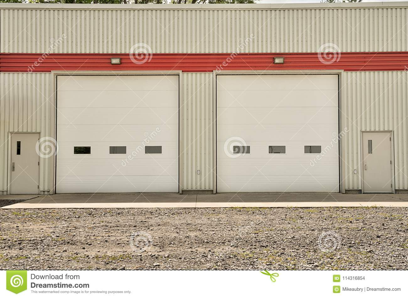 stock doors photo industrial sides door warehouse image garage white with roller of both standard
