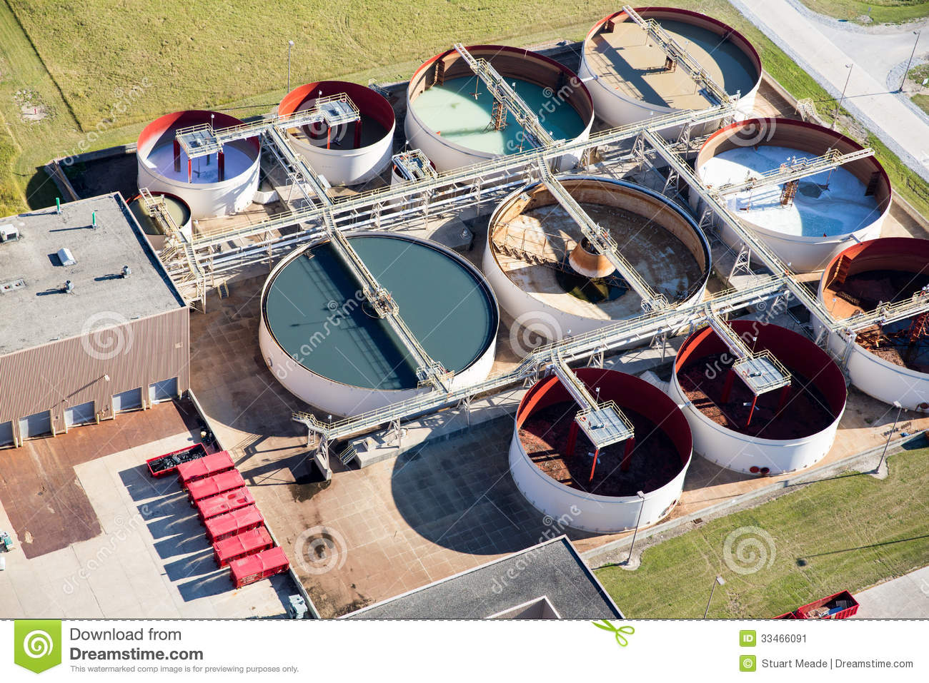 Industrial Waste Water Treatment Plant Aerial Photo Stock