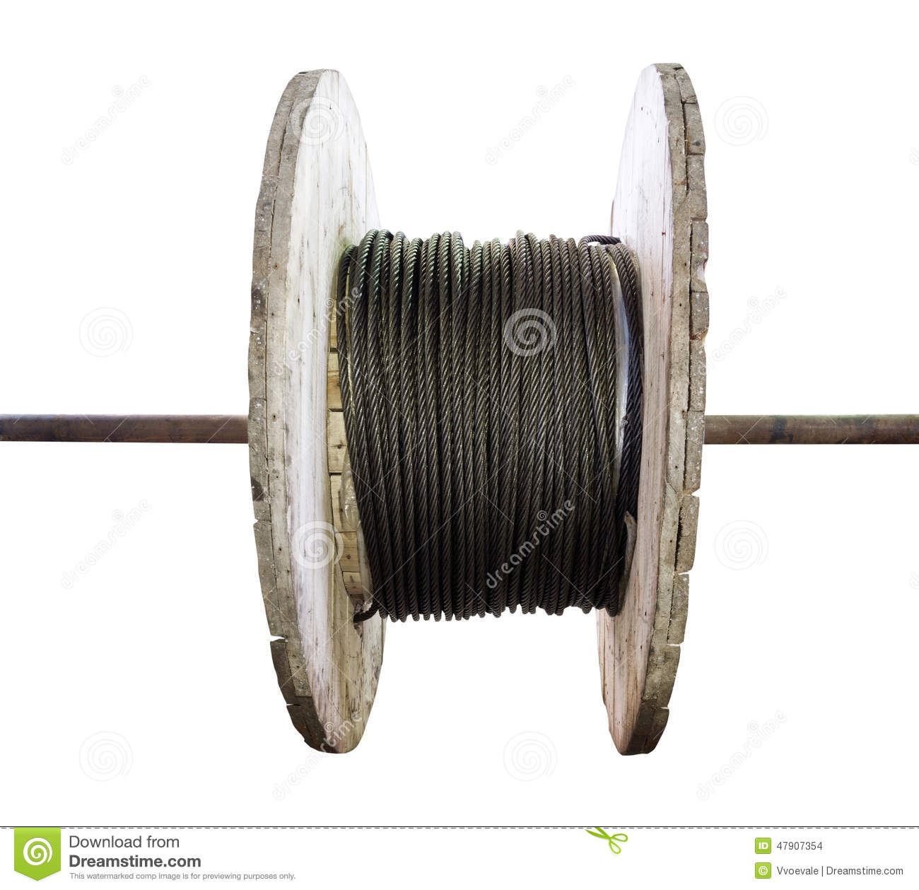 Industrial Wooden Reel With Steel Wire Rope Stock Photo - Image of ...