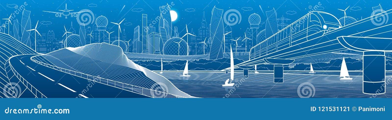 Industriale dell infrastruttura della città e panorama dell illustrazione di trasporto Il treno viaggia lungo il ponte ferroviari