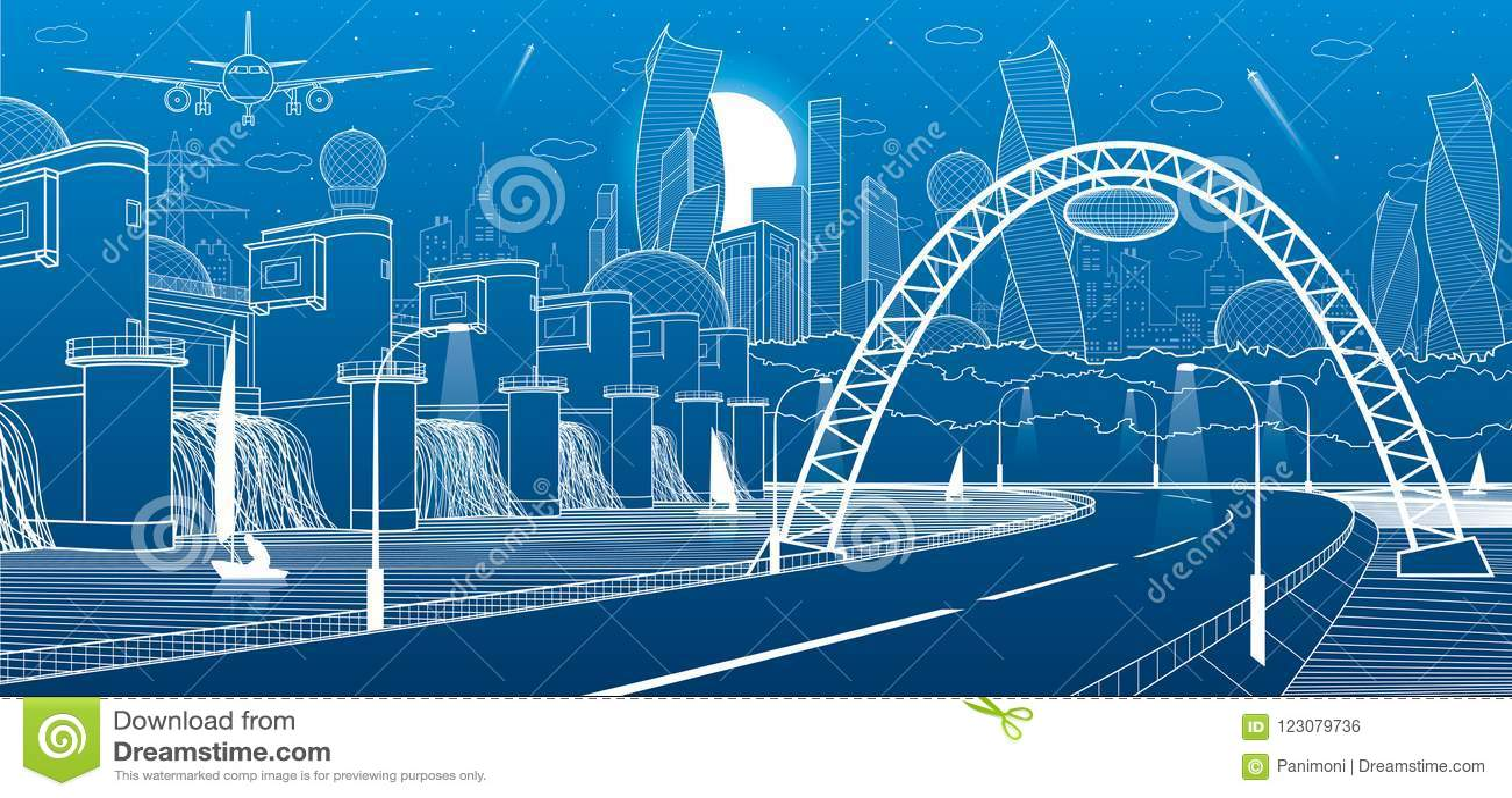 Industriale dell infrastruttura della città ed illustrazione di energia Idro centrale elettrica Diga del fiume Strada dell automo