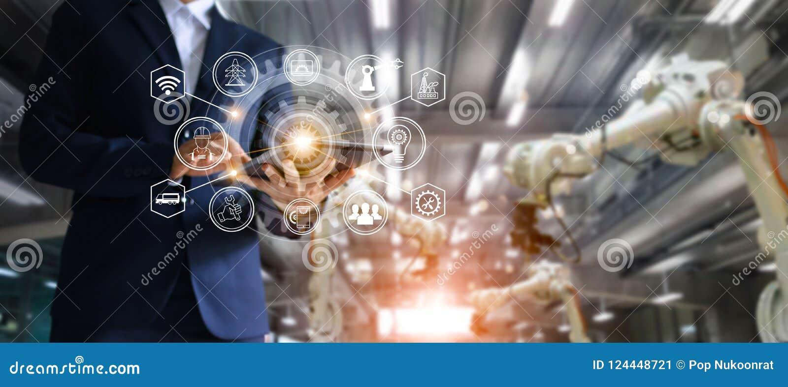 Industrie, 4 Automatisierung mit 0 Konzept, Ikonenflüssen und Datenaustausch