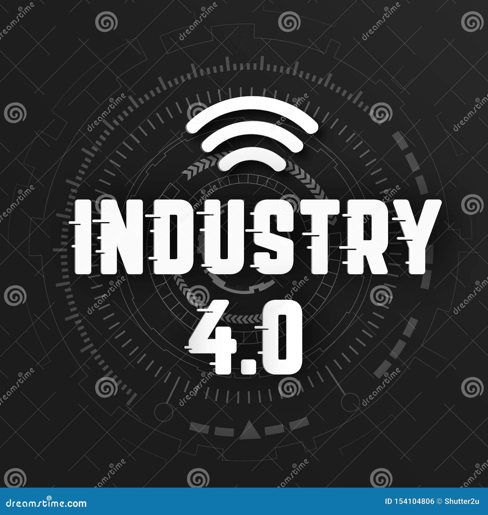 Industrie 4 0 avec le logo de wifi sur le fond noir avec la ligne globale transmission de réseau sans fil de lien Transformation