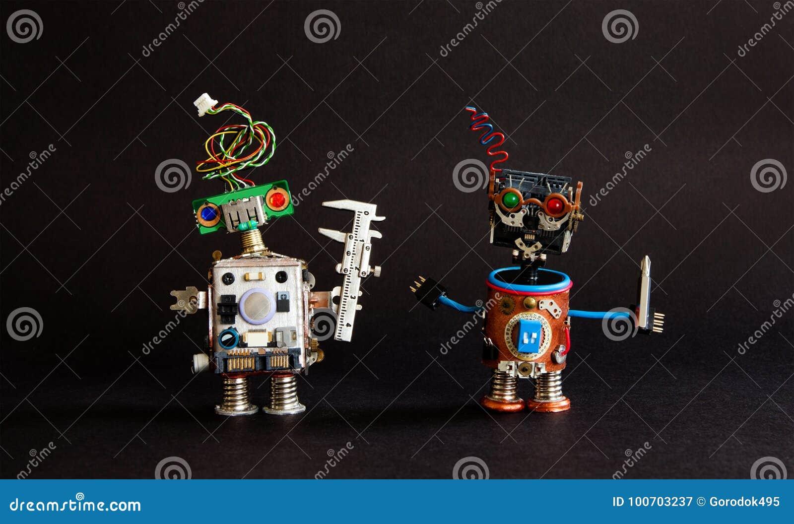Industrie 4 0 concepts de technologie d automation Calibre d ingénieur de robot, tournevis de bricoleur de cyborg Conception créa